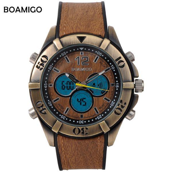 Мужские спортивные часы оптом аналоговые цифровые светодиодные кварцевые часы дерево дизайн коричневый резинкой ретро старинные панк часы Reloj