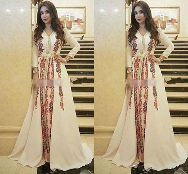 Nuevos vestidos de noche de Kaftan Caftan marroquí Increíble bordado Escote en v Ocasión Ocasión Vestido de fiesta de manga larga árabe de Dubai Abaya