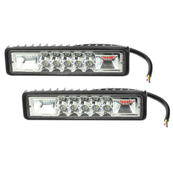 2 pièces 6 pouces 16 LED Rouge / Bleu / Blanc Strobe Flash Light Dash clignotant d'urgence