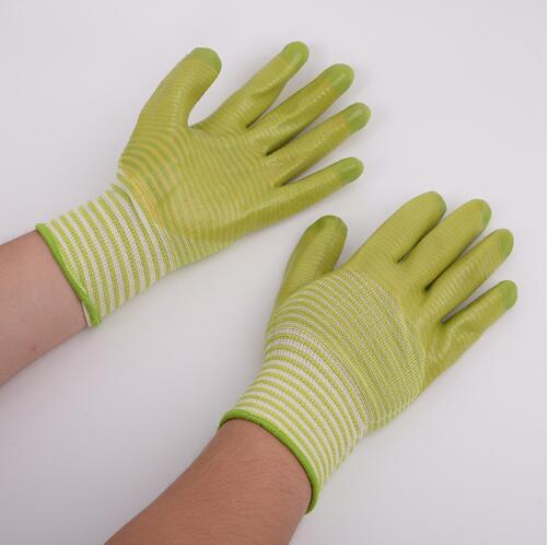 Stripe Luvas De Segurança De Trabalho PVC Nylon Látex Luvas De Malha Antiderrapante Esd Anti Estática Trabalhando Luvas De Proteção 2 pcs / par CCA10933 100 pares