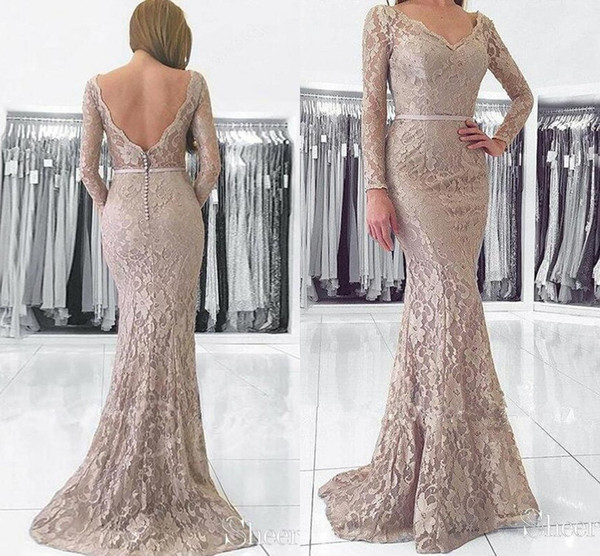 Long Sleeve Mermaid Evening Occasion Wear Dresses 2019 Full Lace V-neck Backless Trumpet Plus Size Prom Party Dress