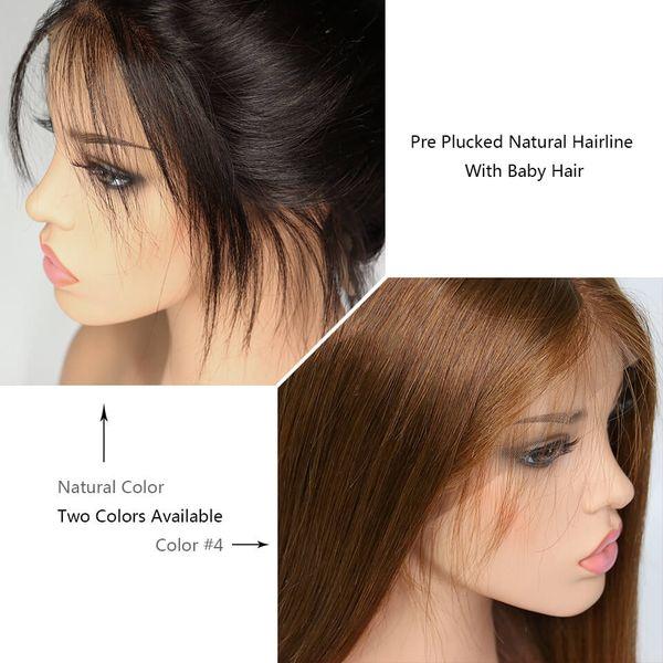 Tam dantel peruk Dantel Ön peruk Düz # 4 açık kahverengi renk doğal renk İnsan Saç bebek saç Ön Koparıp Doğal Saç Çizgisi Malezya Saç