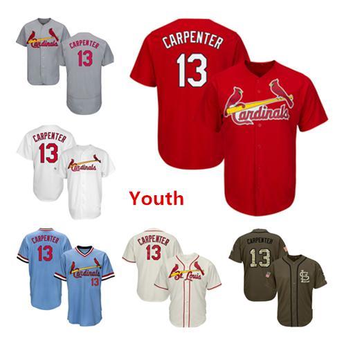 Youth Kids Child Cardinals Baseball Jerseys 13 Matt Carpenter Jersey Cream White Red Gray Grey Blue Green Salute