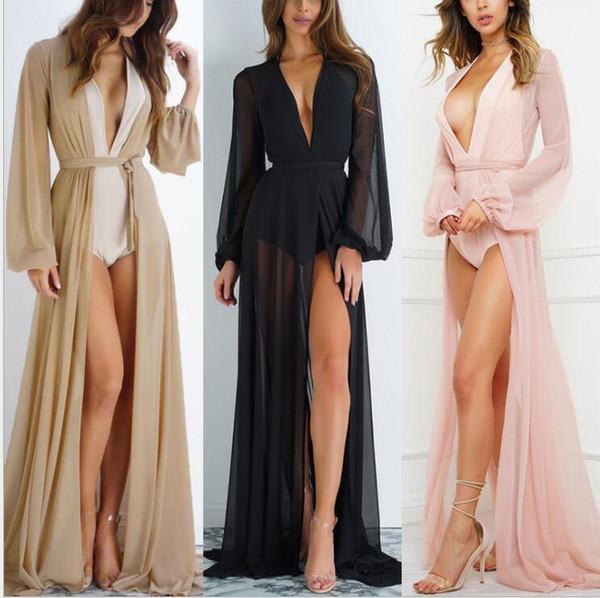 Mulheres Sexy Borla Cardigan Longo Encobrir Vestidos senhora Lace Sexy Lace Kimono Blusa Casual Praia Biquíni Oco Cover-Up Vestidos Malha Maiô