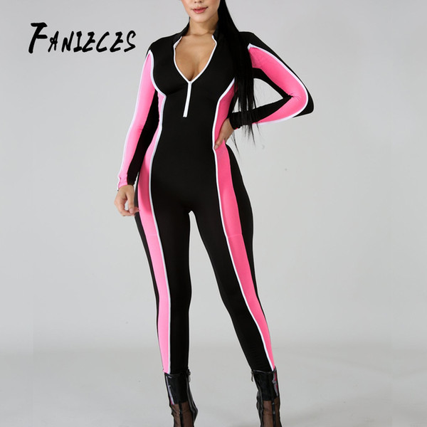 21bd76984 FANIECES Sexy body chándal mamelucos mujer mono manga larga de rayas de  rayas delgado delgado casual