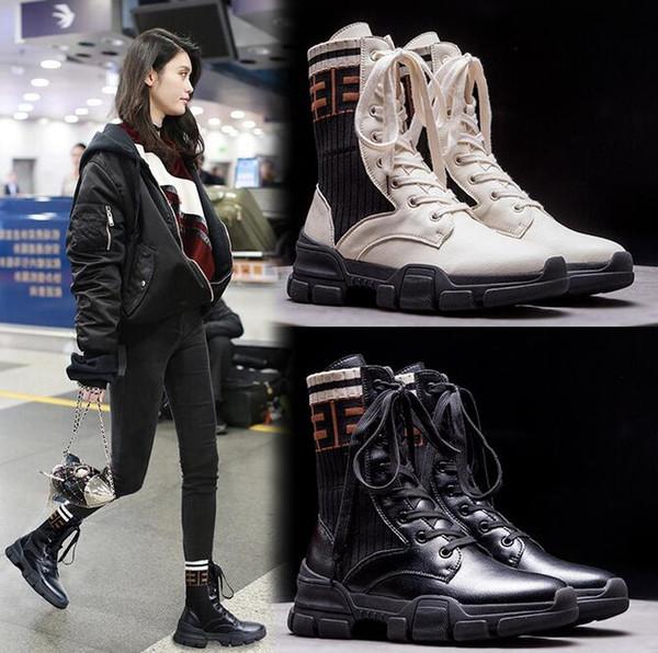 Fashion Luxury Women Platform Genuine leather Hight top Boots Designer Martin Boots Lace-Up British style Big size 35~42