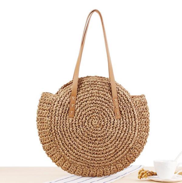 Factory wholesale women handbag summer new simple circular straw bag hand-woven women shoulder bag sweet hollow crocheted beach bag