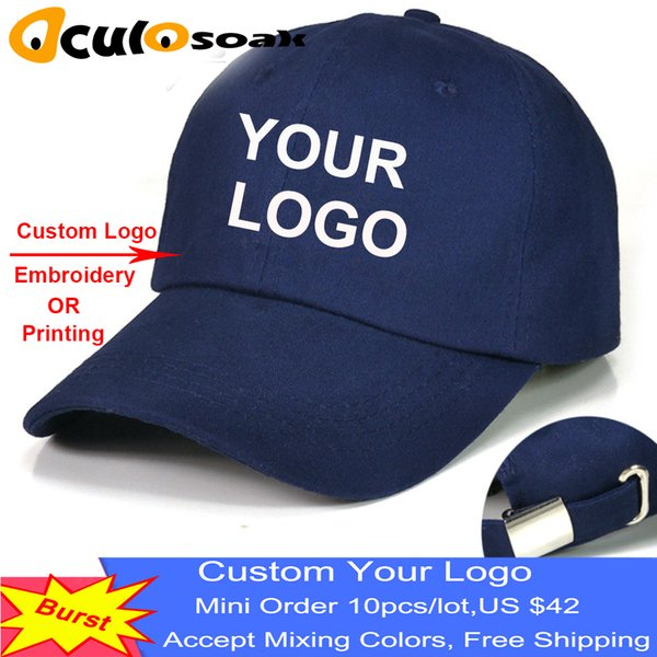 Hot Custom Baseball Cap Print Text Photo Embroidery Gorra Casual Solid Hats  Pure Color Black Cap Snapback Caps For Men Women Flat Caps For Men Womens