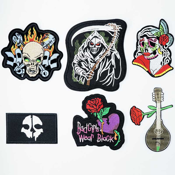 Death Corpse Zombie Rose Iron On Patches Cucito ricamato applique per vestiti giacca adesivi Badge fai da te accessori di abbigliamento