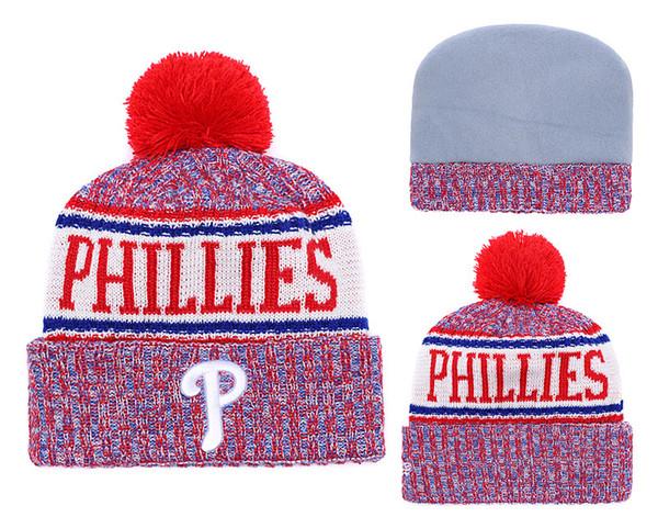 NEW Men's Philadelphia Knitted Cuffed Pom Beanie Hats Striped Sideline Wool Warm Baseball Beanie Cap Men Women Bonnet Beanies Skull Hat