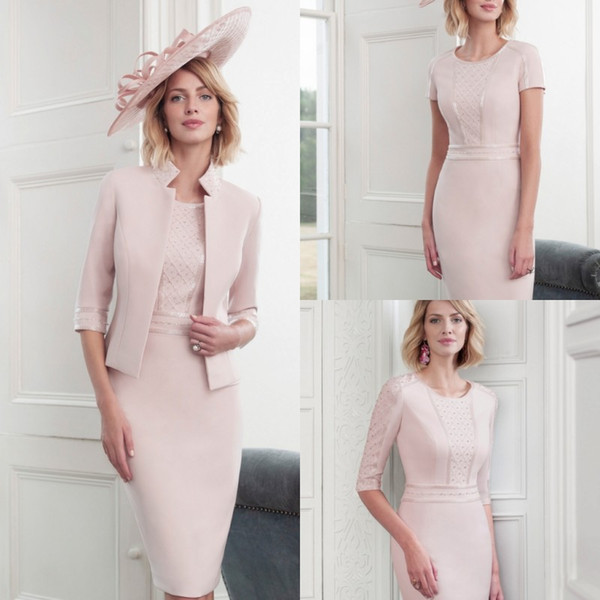 Elegant Pink Mother Of The Bride Dresses With Jacket 2019 Plus Size Lace Short Sleeves Wedding Guest Dress Knee Length Evening Gowns