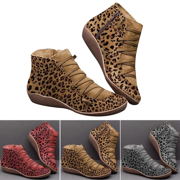 1 pair female boots shoes side zipper leopard pattern anti-slip breathable 2019 outdoor ankle boots for women leather boot lby