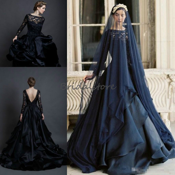 pnina tornai Gothic black country wedding dresses long sleeves sheer neck ruffles Lace bridal gowns vintage Low Back abiti da sposa cheap