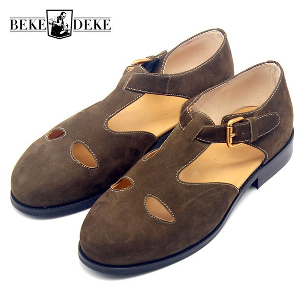Retro Unisex Brown Scrub Cowhide Buckle Slip On Sandals Fashion High Street British Hollow Out Breathable Casual Shoes Plus Size