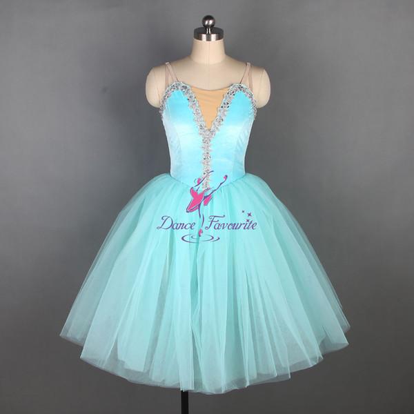 Aqua azul spandex camisole corpete ballet dress longo romântico ballet balletina traje de dança tutu vestidos para meninas e mulheres 19831-5