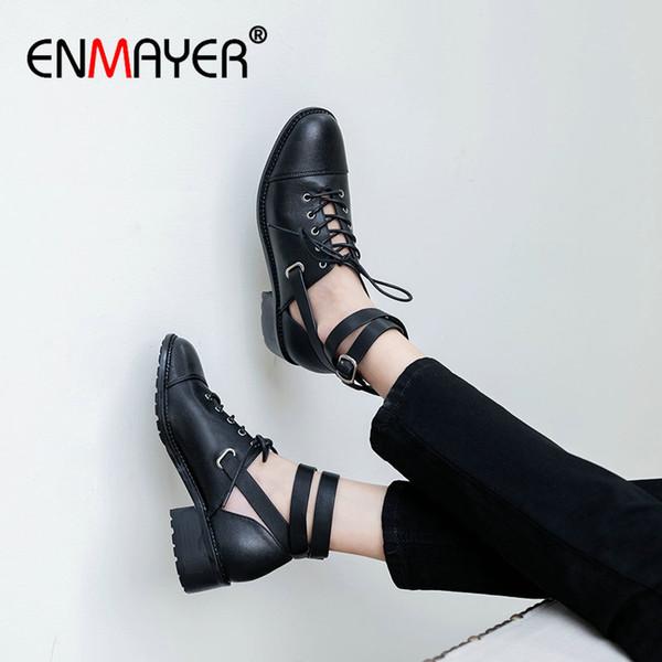 ENMAYER 2020 Gerçek Deri Yüksek Topuklar Gladyatör Casual Dantel-up Yuvarlak Burun Lüks Kadın Ayakkabı Moda Toka Bayan Ayakkabı 34-39