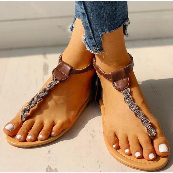 HEEGRAND Kristal Flats Kadınlar Toka Askı Tanga Sandalet Bayanlar Gladyatör Moda Klip Ayak Kadın Ayakkabı Artı Boyutu 43 XWZ6028