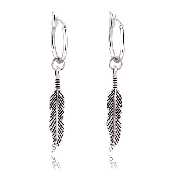 1pair Ethnic Vintage Silver Color Feather Pandent Hoop Earrings For Women Circle Earring Hoops Earing Aretes Jewelry free shipping