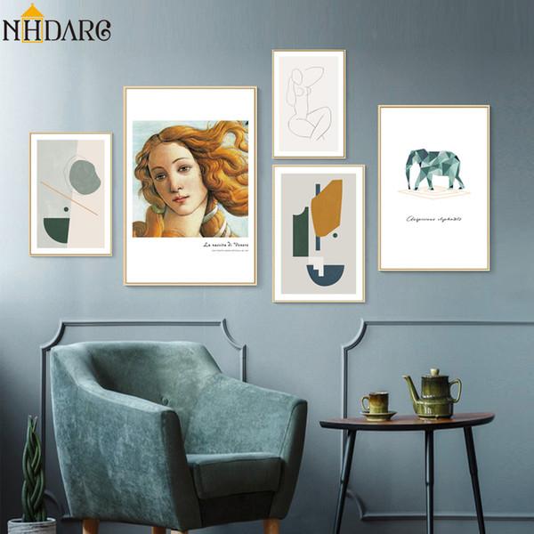 Salon Ev Dekorasyonu için Doğum Geometrik Soyut Fil Nordic Poster ve Baskı, Tuval Giclee Sanat Duvar Resmi