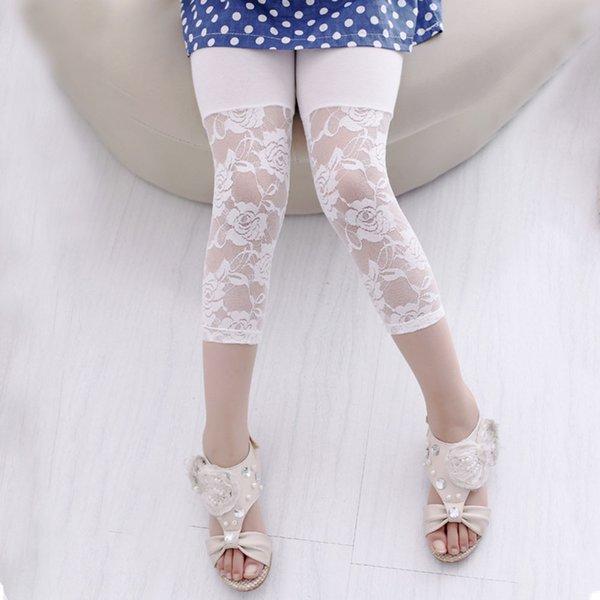 Verão Bebés Meninas Leggings Calças da criança Kid Flower Baby Girl Ballet Dança Lace Leggings 2-7Y