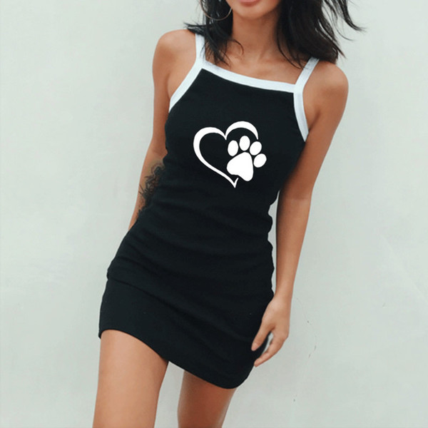 Donne 19SS Summer Dress Female Sexy Spaghetti Strap Love Pattern Abiti orma
