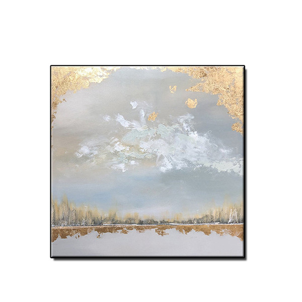 Free shipping abstract oil painting wall art pictures home decor Hand-painted on canvas gold plating scenery for living room no framed
