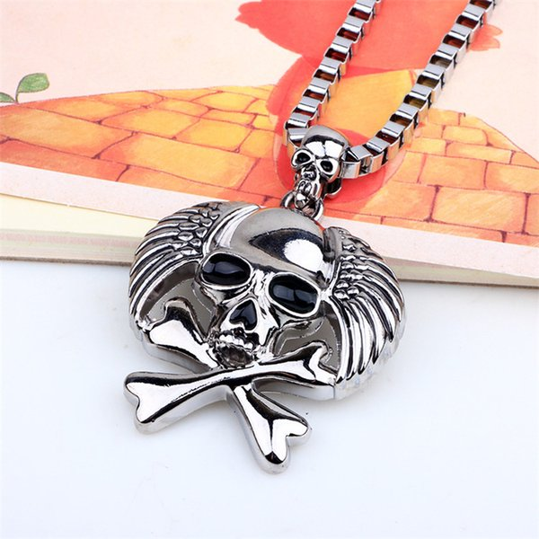 Fashion Hip Hop Pendant Necklaces For Men Pirates Skull Head Necklaces Men's Jewelry Box Silver Chains Jewelry Necklace Gift