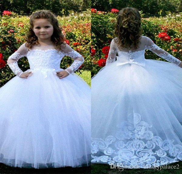Best Selling Ball Gown Jewel Long Sleeve Pure Flower Girls Dresses For Wedding Sweep Train Tulle Lace Little Girls Wedding Party Gowns