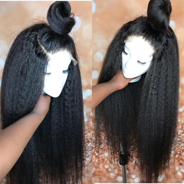 Italian Yaki wig African American 360 Full Lace Human Hair Wigs Best Glueless Brazilian Kinky Straight 360 Lace Front Wigs