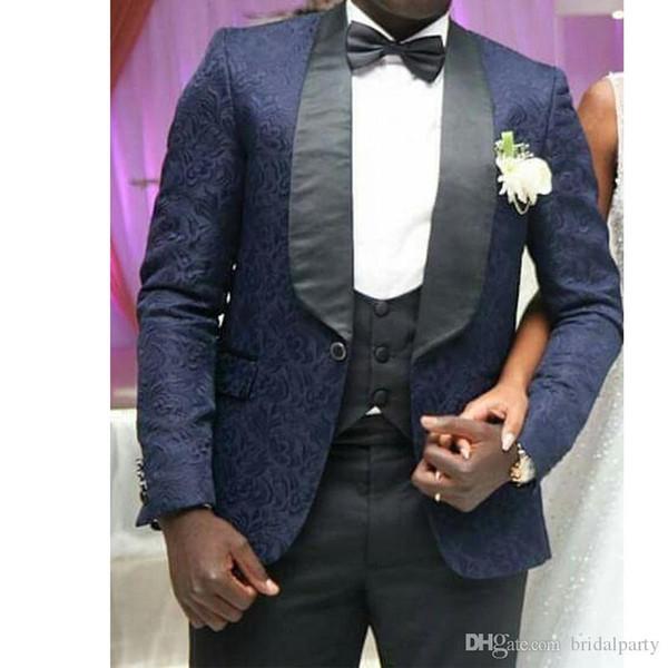 Tela de encaje floral Un botón de trajes de novio esmoquin Mens 3 Piezas juegos de asunto Juego de la boda esmoquin para los hombres de la chaqueta + pantalones + chaleco