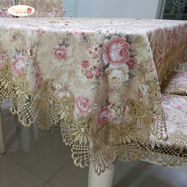 Proud Rose Pastoral Lace Tablecloth Table Cover European Round Table Cloth Chair Cushion Wedding Decor Table Cloth Chair Cover T8190620