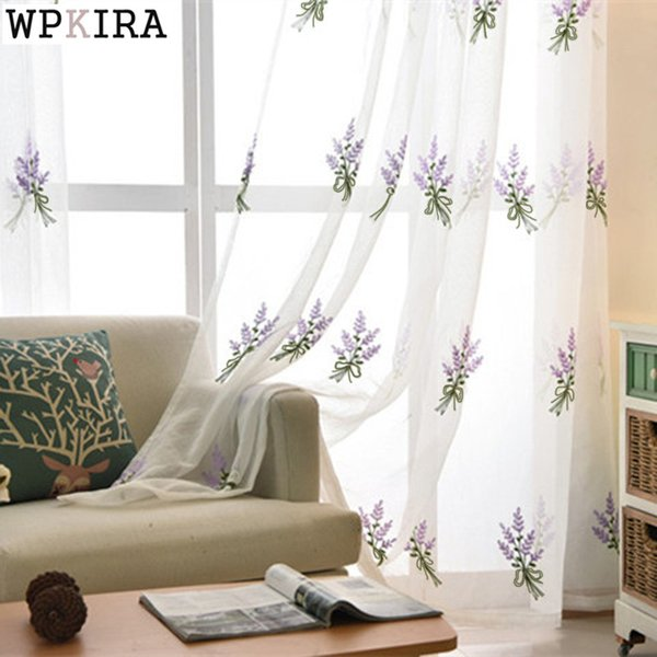 Simple White Lavender embroidered Tulle embroidered Voile Curtains Bedroom Study The Living Room Tulle 258&20