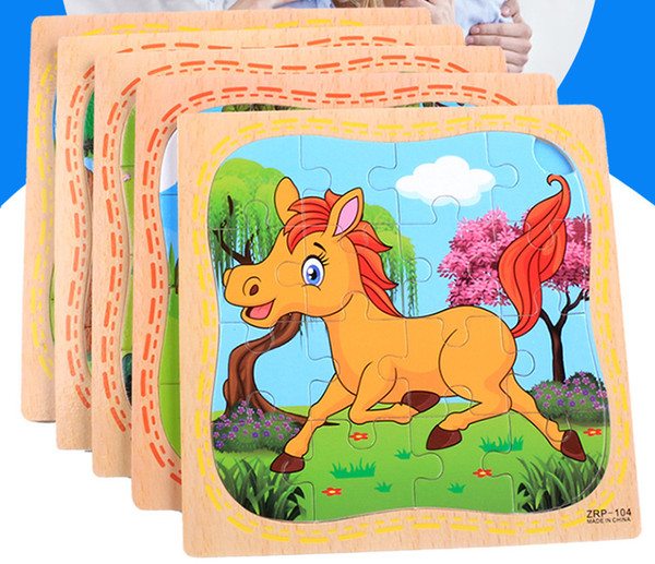 16PCs Wooden Pattern Puzzle Blocks Toys Recognize Animals Traffic Tools Classic Educational Intelligence Development Toys for Kids