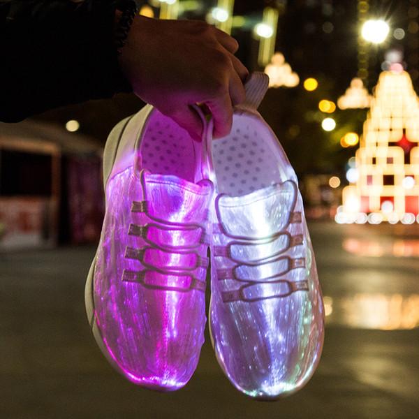 Led Fibra Ottica Scarpe Ragazze Ragazzi Uomini Donne USB ricarica Sneakers incandescente Scarpe uomo luce taglia 25 46 Nuova estate