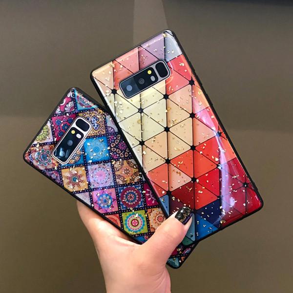 Multi-Color Grid Phone Case per Samsung Galaxy S10 S9 Plus M20 A70 Bling Sequin Gold Foil Flower Custodia epossidica morbida per Samsung Note 9 A30