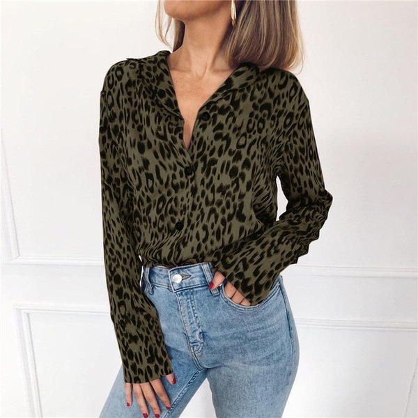 New Leopard Printed Womens Chiffon Blouses V Neck Long Sleeve Womens Shirts Fashion Ladies Casual Clothing