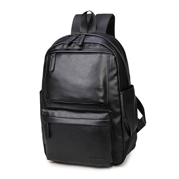 New 2019 Brand waterproof laptop backpack men leather backpacks for teenager Men Casual Daypacks(Black)