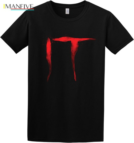 IT Logo Creepy Scary Pennywise clown Stephen King Inspired T-Shirt New Fashion Casual Cotton Short-Sleeve Game Shirt