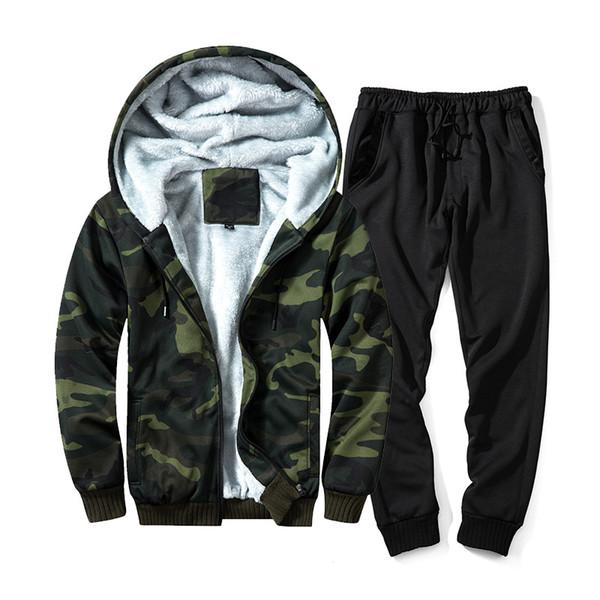 Winter Set Men Warm Tracksuit Fur Inside Set Mens Thick Fleece Jackets+Pants Camouflage Suit Sporting Hoodies Sweatshirts