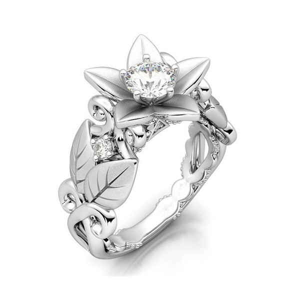 Fashion Silver Cubic Zirconia Lucky Flower Leaf Rings Jewelry For Women Ladies Wedding Engagement Rings