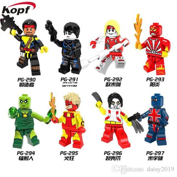 Super Heroes Forge Pyro Domino Radioactive Man Union Jack Omega Giocattoli regalo per bambini PG8082