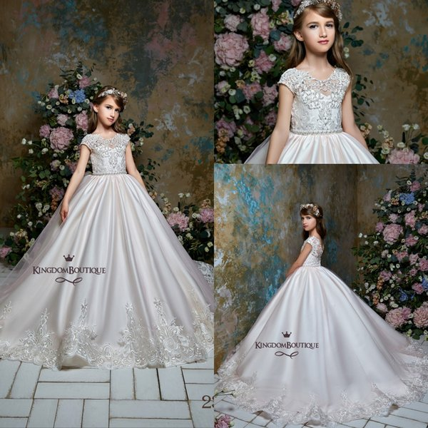 Princess Satin Long Designer Kids Formal Flower Girl Dresses 2019 Cap Sleeves Appliqued Jewel Neck Ball Gown Girls Pageant Gowns