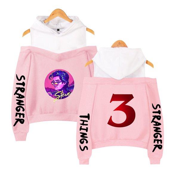 Großhandel Stranger Things 3 Pink Hoodie Elf Steve Demogorgon Dustin Harajuku Langärmliges Schulterfreies Sweatshirt Mit Kapuze Damen Von Zhouzhaoyu,