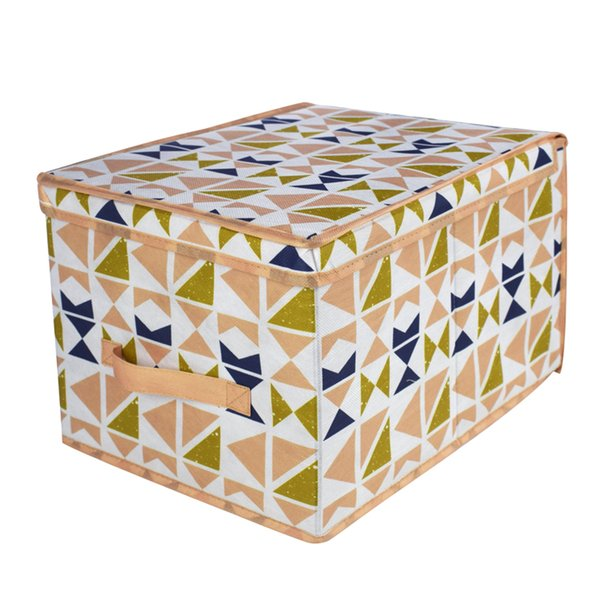 2018 Large Home Office Fabric Paperboard Handmade Folding Lided Clothes Kids Storage Container Box Bin Basket with Handle