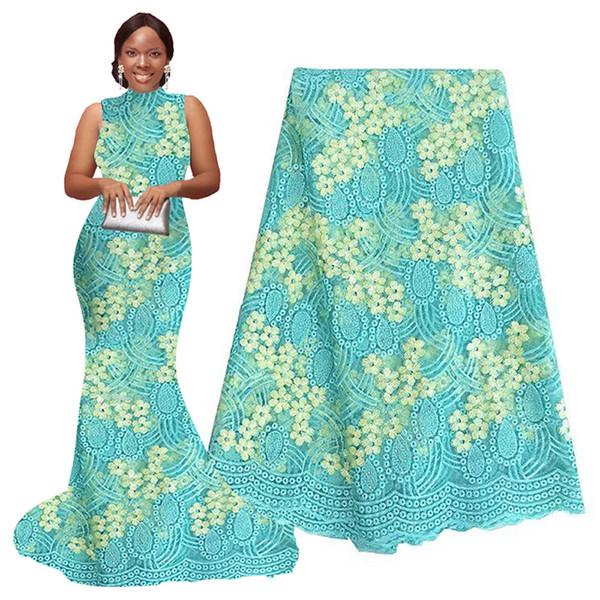 Neueste African Latsch 2019 Aqua-Creme Französisch Schnürsenkel Gewebe Qualitäts-Tulle Französisch Spitze Polyester Material Nigeria Stoff