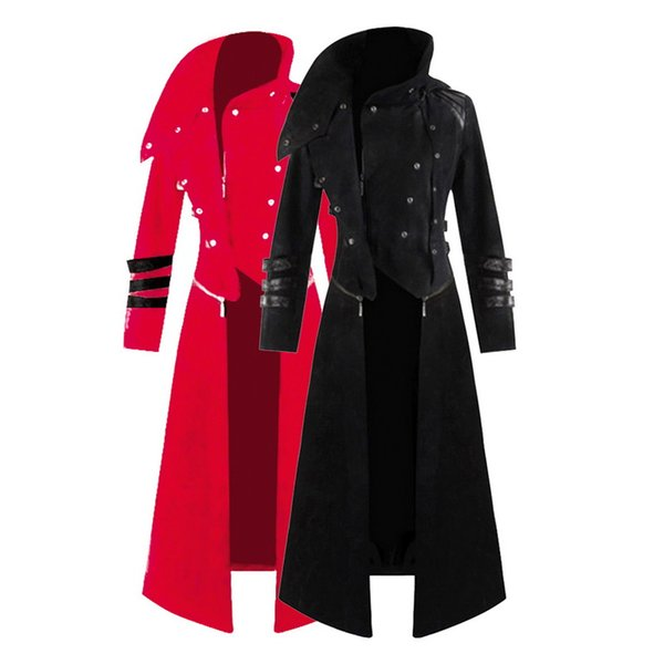 MJARTORIA Mens Новая мода готического стимпанк с капюшоном Trench Parka партии Костюм Performance одежда Фрак Jacket