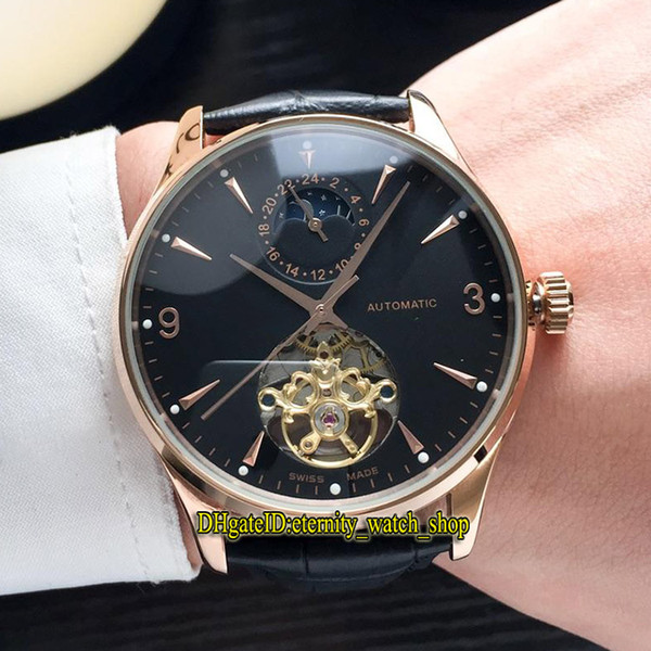 6 Color Cheap Luxry MASTER CONTROL Q1662450 Black Moon Phase Dial Tourbillon Automatic Mens Watch Rose Gold Case Leather Band Casual Watches