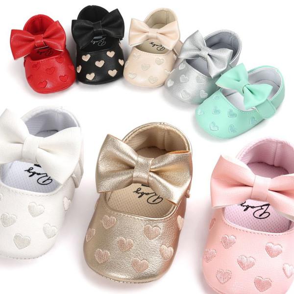 Bebek PU Deri Erkek Bebek Kız Bebek Moccasins Moccs Ayakkabı Yay Saçak Yumuşak Soled kaymaz Ayakkabı Beşik ayakkabı