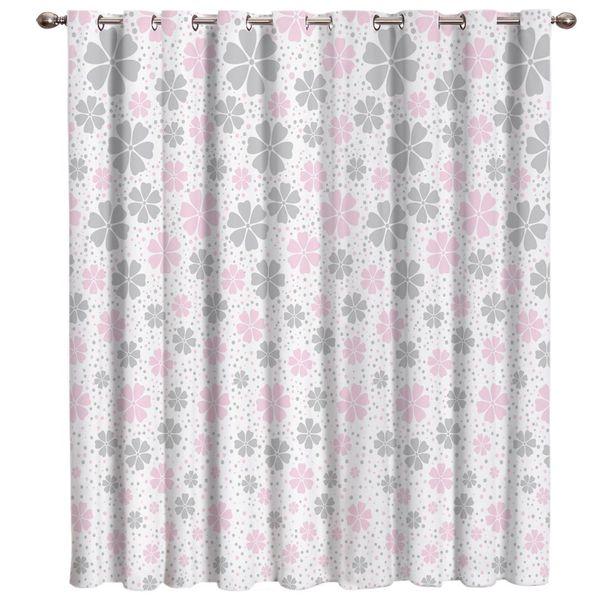Pink And Grey Flower Nordic Window Curtains Dark Blackout Bathroom Bedroom Outdoor Fabric Swag Kids Window Treatment Ideas