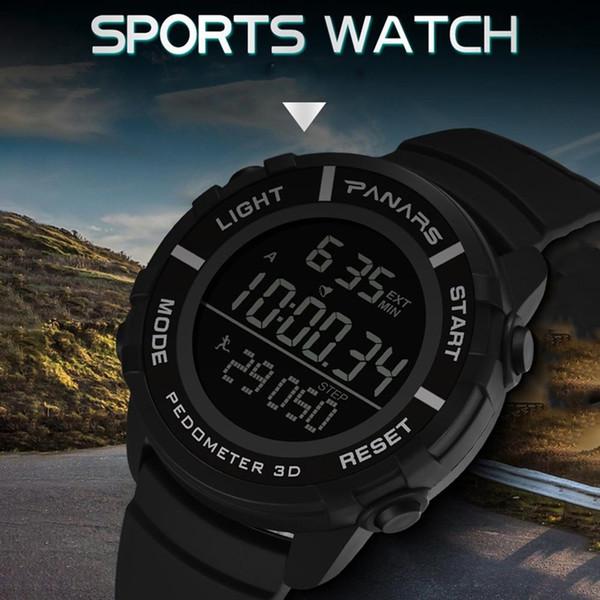 Hombres al aire libre Moda podómetro Calendario Cronómetro Reloj deportivo a prueba de agua Reloj deportivo